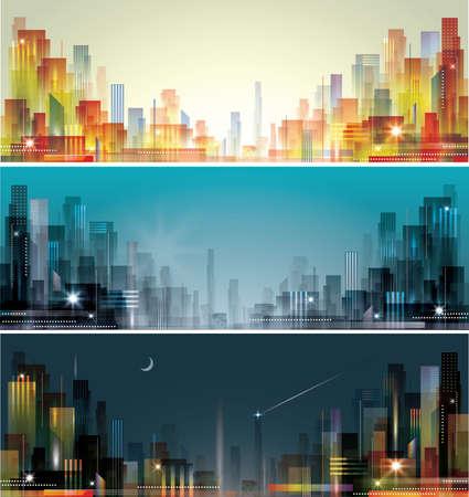 городской пейзаж: Городской пейзаж на рассвете, вечером и ночью
