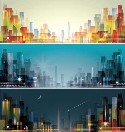 city panorama: City landscape at daylight, evening and night