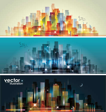 building sketch: City landscape at daylight, evening and night