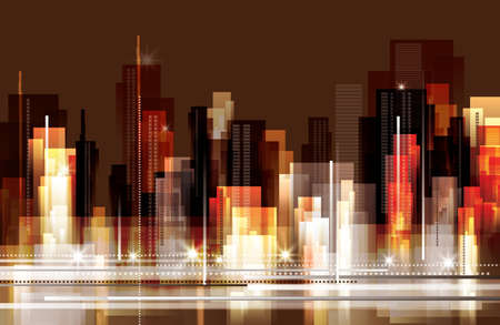 schets: Skyline van de stad 's nachts Stock Illustratie