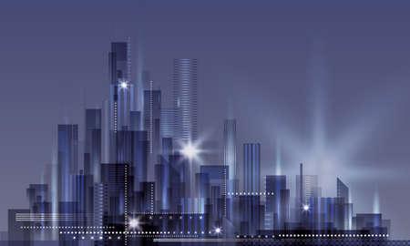 cityscape silhouette: Modern Cityscape at night Illustration