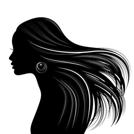 Silhouette de visage de femme avec les cheveux ondulés