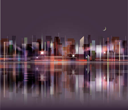 City skyline at night with reflection in water
