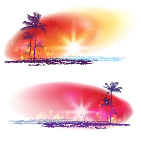Exotic Palm Trees Background Banners Stock Vector - 16301094