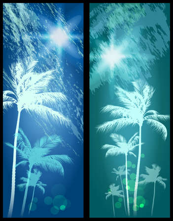 palm tree sunset: Exotic Palm Trees Background Banners