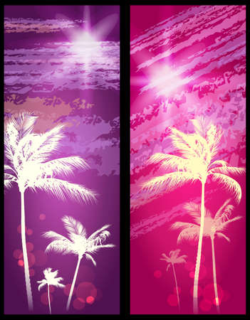 Exotic Palm Trees Background Banners  Stock Vector - 17063724