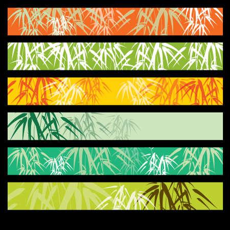 Bamboo banner set Vectores