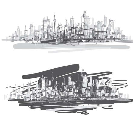 City landscape  Hand-drawn vector illustration   Ilustracja