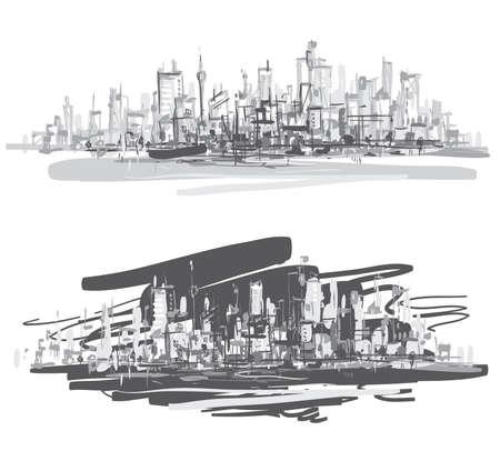 City landscape  Hand-drawn vector illustration   Vectores