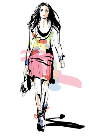 glamour model: Fashion model  Woman  Sketch  Hand-drawn Vector illustration