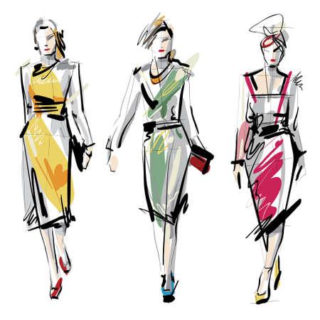 moda casual: Modelos de moda croquis Vectores