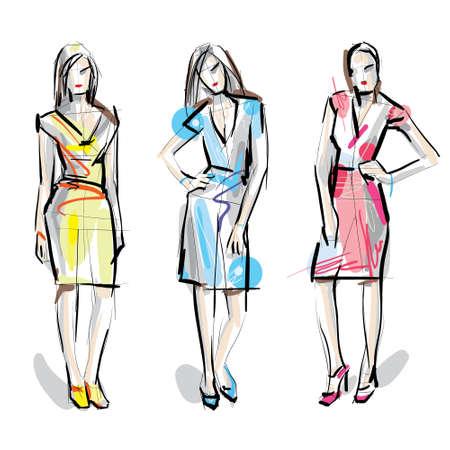 sexy woman silhouette: Fashion models  Sketch  Illustration