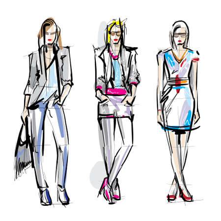 fashion sketch: Fashion models  Sketch  Illustration