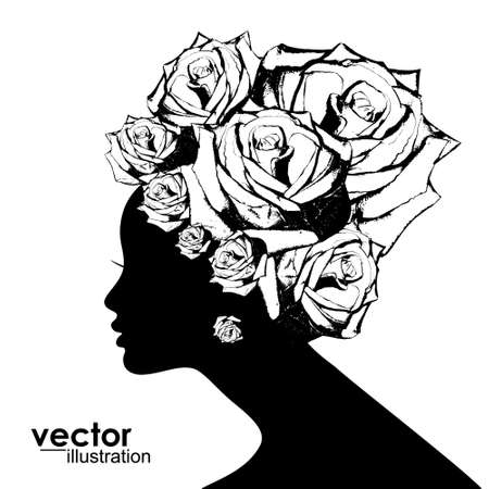 Woman Hair style Silhouette with roses Vectores