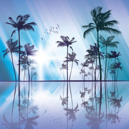 sunup: Palm trees at sunset with reflection in water Illustration