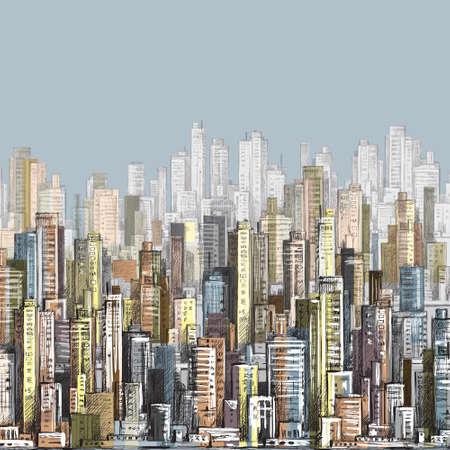 arte moderno: Vector dibujado a mano paisaje de la ciudad Vectores