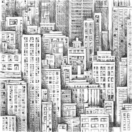 city landscape: City landscape hand drawn vector Illustration
