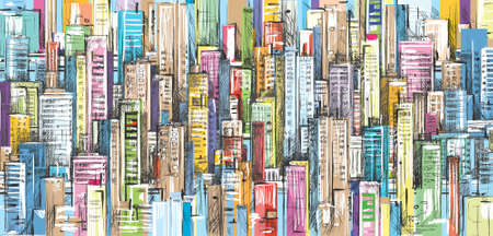 City landscape hand drawn vector Ilustracja