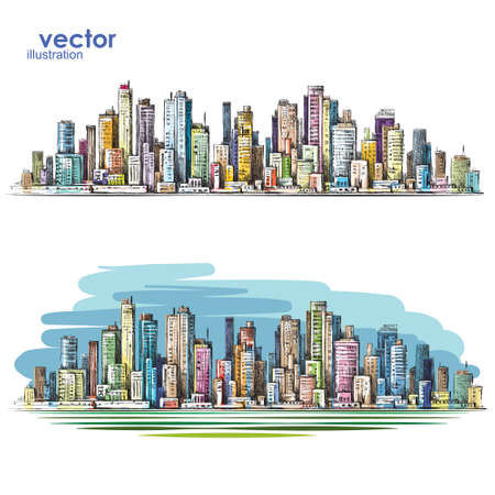 City landscape hand drawn vector Illustration