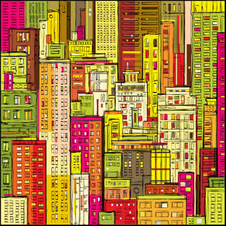 architectural styles: City landscape hand drawn vector Illustration