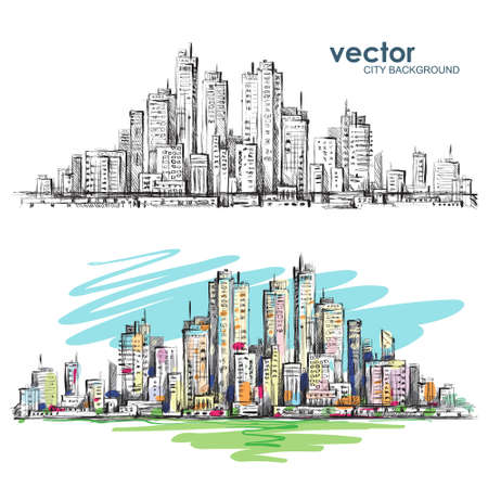 City landscape hand drawn vector Illustration