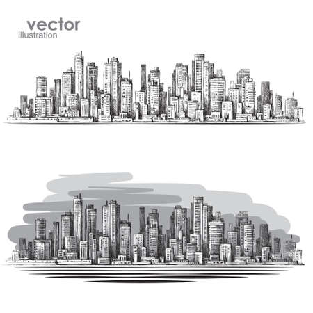 City landscape hand drawn vector Иллюстрация