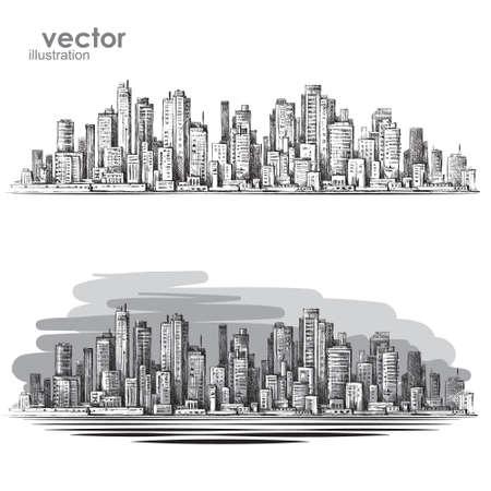 buildings city: City landscape hand drawn vector Illustration