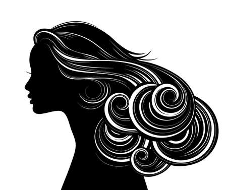 young girl nude: Woman Hair style Silhouette