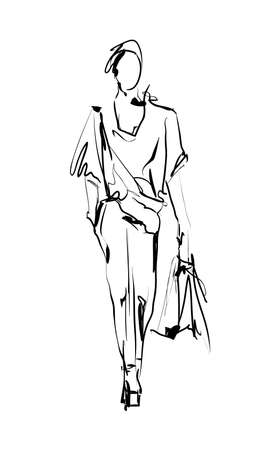 Fashion model. Sketch.
