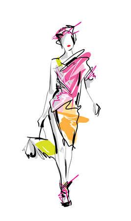 apparel: Fashion model. Sketch. Illustration