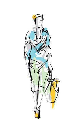 Fashion model. Sketch. Illustration