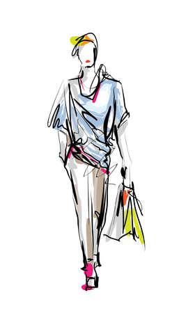 Fashion model. Sketch.  イラスト・ベクター素材