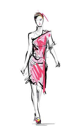 fashion model: Fashion model. Sketch. Illustration