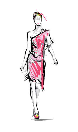 Fashion model. Sketch. Stock Illustratie