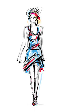 skirt: Fashion model. Sketch. Illustration