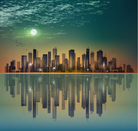 water reflection: City landscape at night in moonlight with reflection in water
