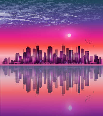 City landscape at night in moonlight with reflection in water