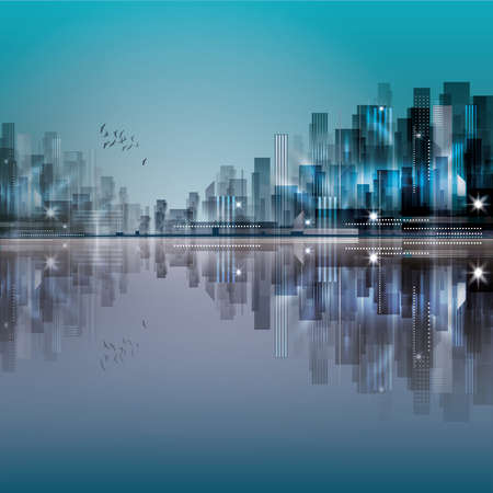 city at night: Modern night city, with reflection on water surface
