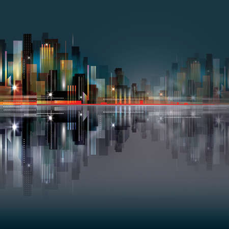 water reflection: Modern night city, with reflection on water surface