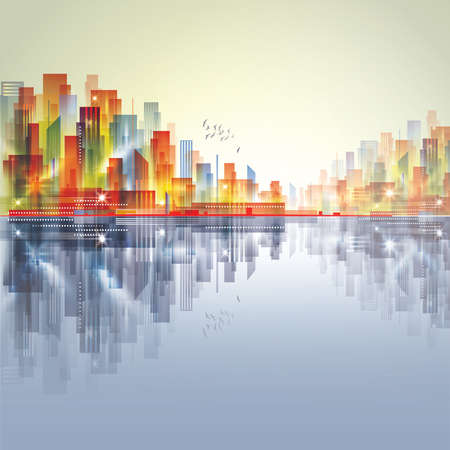 Modern night city, with reflection on water surface