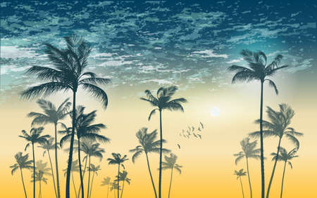 sunrise ocean: Tropical palm tree scene  at sunset or sunrise . Highly detailed  and editable Illustration