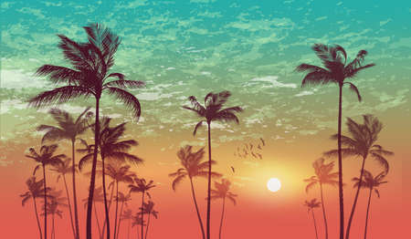 sunup: Tropical palm tree scene  at sunset or sunrise . Highly detailed  and editable Illustration