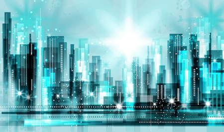 evening glow: Modern night city skyline at night Illustration