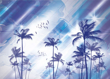 tropical tree: Tropical palm tree silhouette  at sunset or moonlight,   with cloudy sky. Highly detailed  and editable Illustration