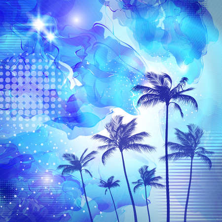sunup: Tropical palm tree silhouette  at sunset or moonlight,   with cloudy sky. Highly detailed  and editable Illustration