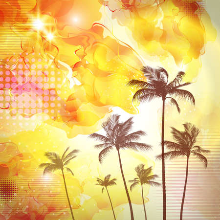 sunup: Exotic tropical palm trees  with fantasy sunset background . Highly detailed  and editable
