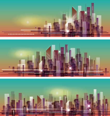 skype: Vector banner night cityscape header set