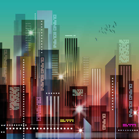 london night: City at night. Vector illustration of apartment blocks in a city at night. Illustration
