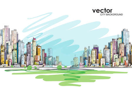 outdoor advertising construction: City skyline hand drawn, vector illustration