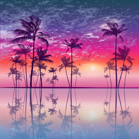 sunup: Silhouette of tropical palm trees  at sunset or sunrise, with cloudy sky . Highly detailed  and editable